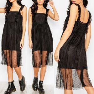 Black Polka Dot Sheer Mesh + Satin Slip Midi Dress